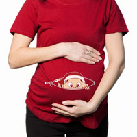 Funny maternity shirt Baby Christmas peeking out = 1946963908