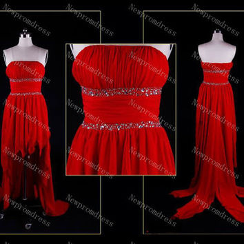 Custom dress Strapless red chiffon with pleated The last 10 Dresses Cheapest