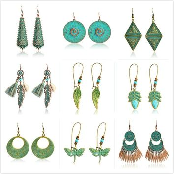 Vintage Bohemian Ethnic Leaf Stones Tassel Earrings For Women Girls Metal Green Charm Dangle Earrings Boho beach Holiday Wedding