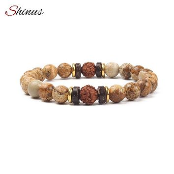 SHINUS Fashion Natural Stone Bracelet Female Men Jewelry Picture Stone Lava Stone Rudraksha Mala Beads Bracelets Meditation Gift