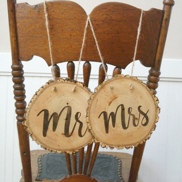 Rustic Wedding Signs, Wedding Chair Signs, Wood Slice Wedding, Wedding Decor, Mr Mrs Signs, Bride Groom Signs, Tree Slice, Hanging Sign