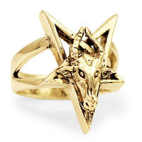 Bronze Goat of Mendes Ring - Horned Goat Head on Inverted Pentagram