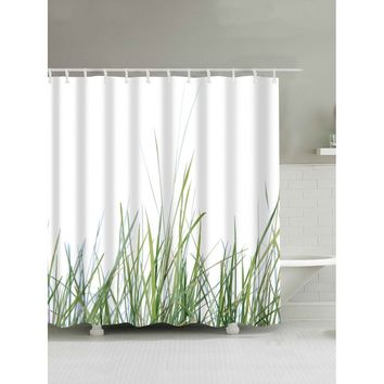 Plant Print Shower Curtain With Hook 12pcs