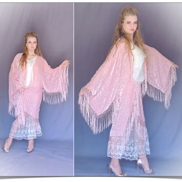 Second instalment Miss R /Fringe kimono in nude pink silk / large luxury burnout velvet duster / Stevie Nicks long jacket