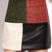 Contrast Patchwork Zipper Detail Skirt -SheIn(Sheinside)
