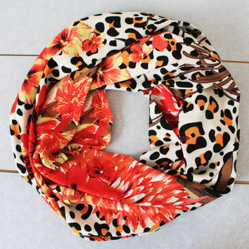 leopard red infinity scarf, scarf, scarves, long scarf, loop scarf, gift