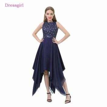 Navy Blue 2018 Prom Dresses A-line Tea Length Chiffon Sequins Crystals Long Women Prom Gown Evening Dresses Robe De Soiree