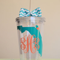 Monogrammed State acrylic tumbler. 16 ounce cups. Florida