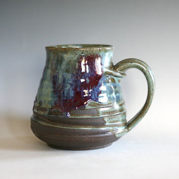 Coffee Mug Pottery, 20 oz, unique coffee mug, ceramic cup, handthrown mug, stoneware mug, wheel thrown pottery mug, ceramics and pottery