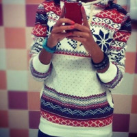 Hot Sale Ethnic Womens Snowflake Printed Christmas Sweater Pullovers
