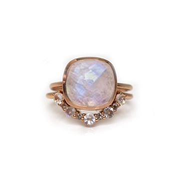 Rose Gold Royal Rainbow Moonstone and Topaz Eclipse Stack
