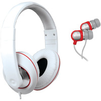 Isound 2-in-1 Sound Kit Dj-style Headphones & Earbuds (white)