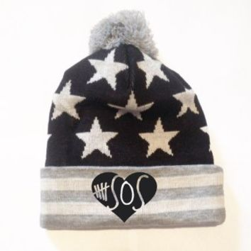 5 Seconds of Summer Beanie Pompom New Style (Black Grey White)