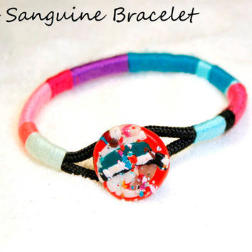 Rope Bracelet, wrap bangle, colorful bangle, bangle bracelet, color block bracelet, tribal bracelet, statement bangle, polymer clay bracelet