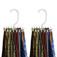 Evelots 20 Hook Tie Hangers, Closet Storage Rack, Set Of 2, Black Or White