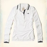 Girls Long-Sleeve Tipped Icon Polo | Girls New Arrivals | HollisterCo.com