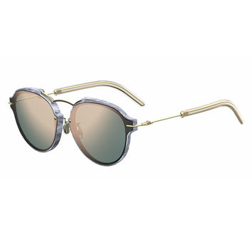 Dior Eclat Notched Mirrored Sunglasses, Silver/Rose