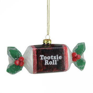 "5.25"" Candy Lane Tootsie Roll Original Chewy Chocolate Candy Glass Christmas Ornament"