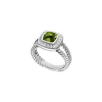 Peridot and Diamond Rope Ring : 14K White Gold - 5.50 CT TGW