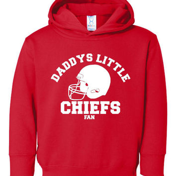 Daddys Little CHIEFS Fan Great Kansas City Fan Football Hoodie Personalize It Great Gift For Any Occasion Sized 2t Thru Youth XL (2)