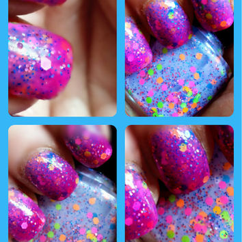 """Color Changing Thermal Nail Polish - """"HIBISCUS"""" - Temperature Changing - Custom Blended Polish/Lacquer - 0.5 oz Full Sized Bottle"""