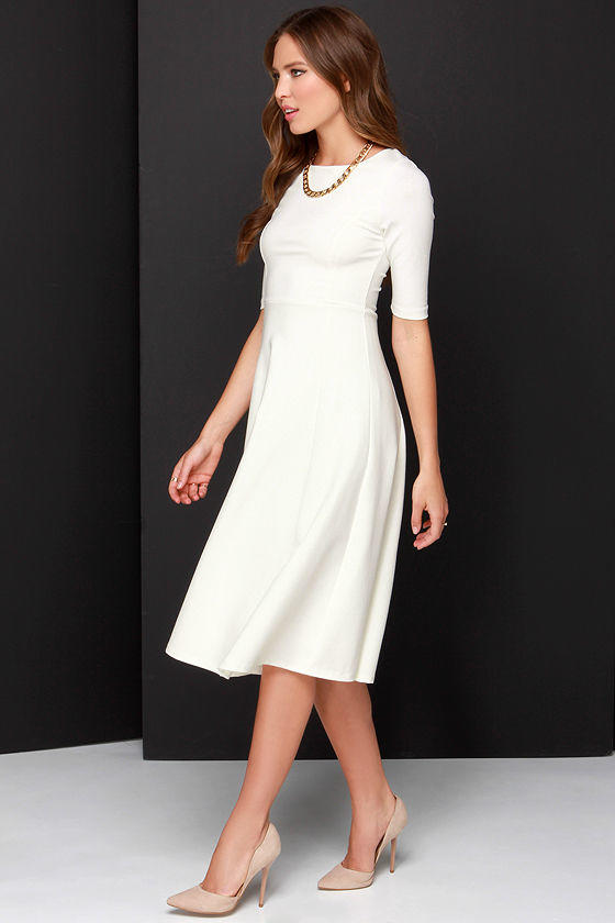 c212a380cab Having a Shindig Ivory Midi Dress from Lulu s
