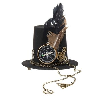 Women Steampunk Gears Fascinator Mini Top Hat Hairgrips, Female Punk Gothic Fedora Headwear Hair Accessories Fancy Feather Decor