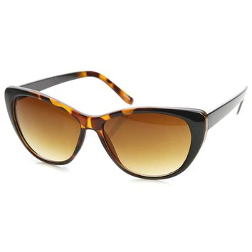 Womens Fashion Two-Tone Color Frame Cateye Sunglasses