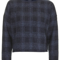 Window Pane Check Sweat - Navy Blue