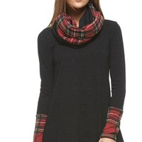 Private Chalet Black Red Tartan Plaid Long Sleeve Cowl Neck A Line Flare Tunic Mini Dress