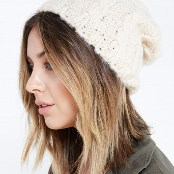 Chunky Cable Knit Slouchy Beanie | Wet Seal