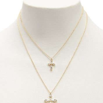 Layered Cross Pendant Necklace