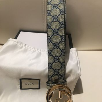 "Gucci 2018 blue Gucci women/men Gucci belt 48"" (120 cm)"