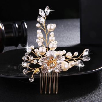 Miallo Wedding Crystal Peals Hair Combs Bridal Hair Clips Accessories Jewelry Handmade Women Head Ornaments Headpieces for Bride
