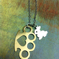 The Sensitive Thug. Brass Knuckles. Mini Weapon. Bunny. Brass Knuckles with Rabbit. Sweet and Sour. Heart. Punk Rock.