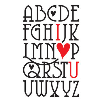 Alphabet I Heart You Wall Decal - Valentine Subway Art Alphabet I Love You Wall Quote - Vinyl Wall Art Decal Saying Lettering 36Hx22W LO001