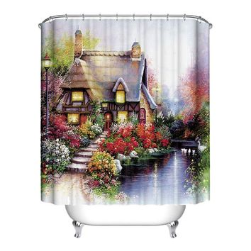 Verious Nature Forest Bathroom Shower Curtain Waterproof Polyester Home Decor+12 Hook