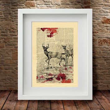 Reindeer Print, Reindeer, Reindeer Art, Wall Decor, Home Decor, Reindeer Print, Animal Art, Animal Print, Watercolor Print, Art Print -55