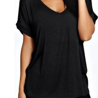 Meaneor Women's Plus Size Baggy Roll UP Short Sleeve V-Neck T-Shirt Top Blouse Black XXL