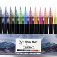 Nightscape Watercolor Brush Marker Pens, Felt Nib, Firm Tip, Set of 12 Colors