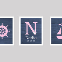 Monogram Set with Nautical Theme, Navy Pink, CUSTOM COLORS, 8x10 Prints, set of 3, Wood Navy, nursery decor print art baby kids room decor
