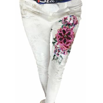 Women Luxury 3D Embroidered Flared Jeans Painted Pattern Slim Skinny Pencil Stretch Pants Vintage Denim White Jeans Large Size