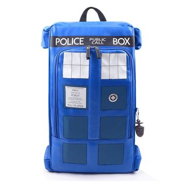 Large Doctor Dr Who Tardis Police Box Backpack Bag Call Box PU Leather with tag