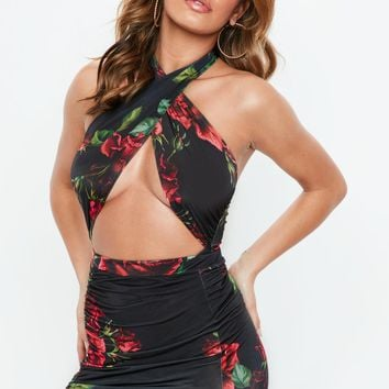 Missguided - Black Rose Print Cut Out Bodysuit