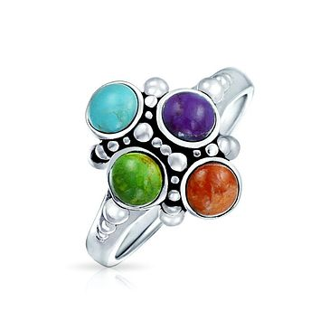 Multi Stone Gemstone Cluster Turquoise Red Coral Ring Sterling Silver