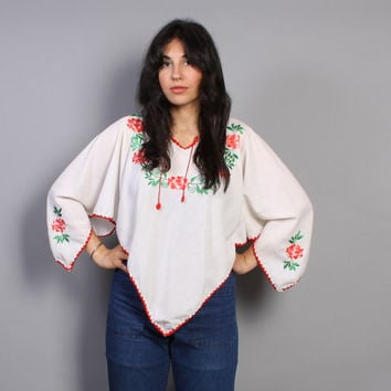 70s MEXICAN Embroidered TOP / Pointed Sleeve Floral Hankie Hem Shirt