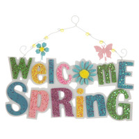 Welcome Spring Glitter Wood Wall Sign | Hobby Lobby