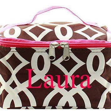 Monogrammed Cosmetic Bag  Brown and White Trellis Cosmetic Bag  Monogrammed Makeup Bag