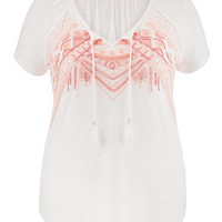Plus Size - Beaded And Embroidered Hacci Tee - White