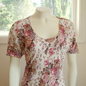 1990's 90's. Floral Maxi Dress. Cream Pink Taupe. Short Sleeves. Free People Style.  Boho. Medium M